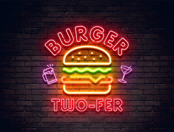 2 burgers, 2 drinks for $25