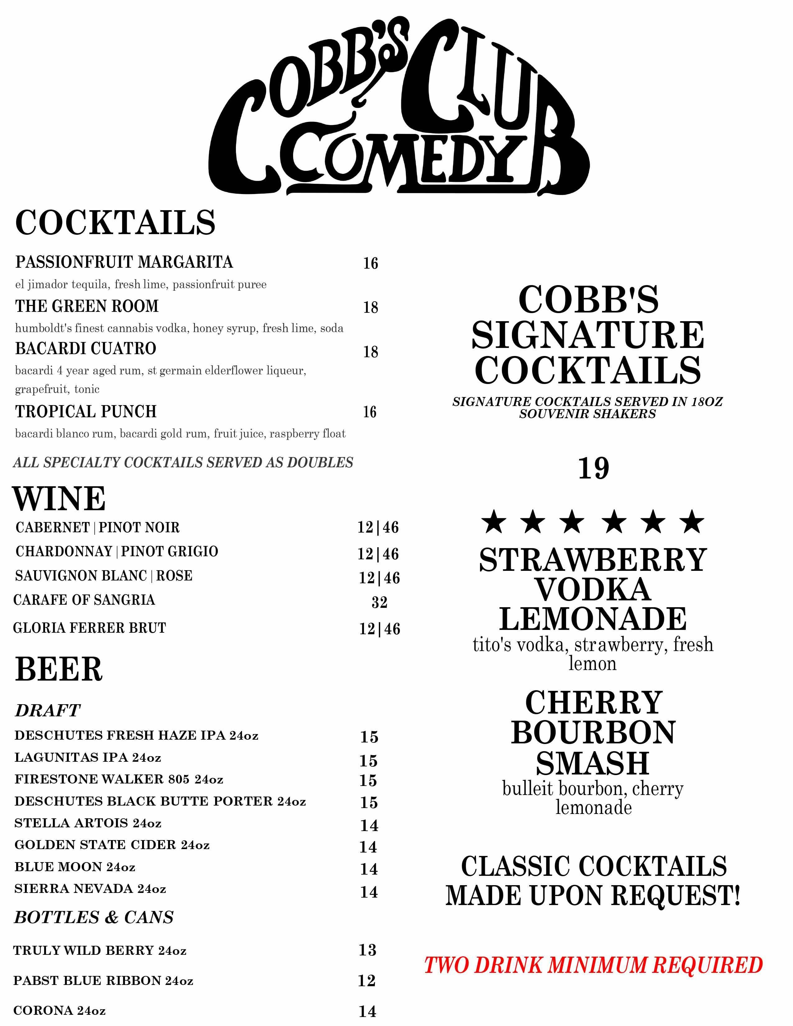 Cobb's Drink Menu